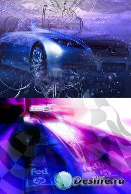 Автомобили на скорости - PSD исходники для Фотошопа