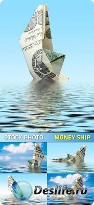 Stock Photo для фотошопа - Money Ship / Денежный кораблик
