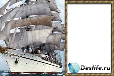 Рамочка для фотошопа - С кораблем