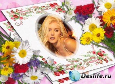 Рамка для фотошопа с цветочным узором