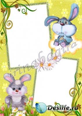 Детская рамочка для фотошопа - Зайки