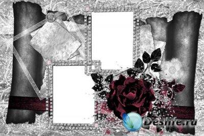 Рамочка для фотошопа - Пурпурная роза