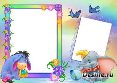 Рамка для фотошопа - Слоненок и ослик