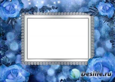 Рамка для фотошопа – Голубые розы