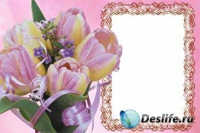 Рамочка для фотошопа с тюльпанами