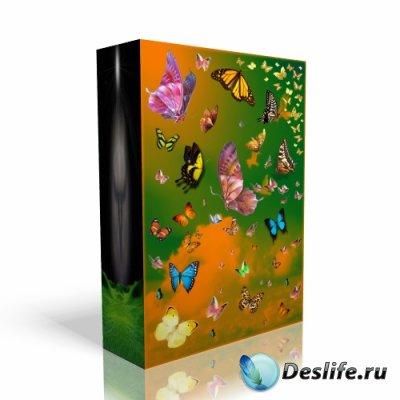 Клипарт для фотошопа с PSD-бабочками
