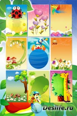 Детские многослойные фоны для фотошопа