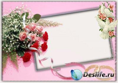 Свадебная рамка для фото - Нежно розовая
