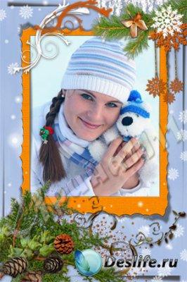 Рамка для фотошопа - Снежинка