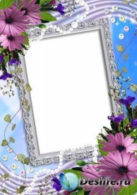 Рамка для фотошопа – Цветы и жемчуг