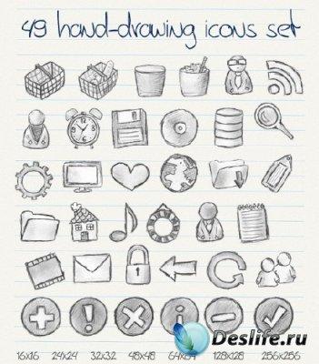 49 иконок нарисованных карандашом от руки (49 Hand Drawn Icons)