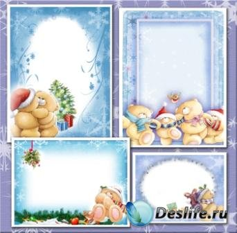 4 Рамки для фотошопа – Рождественские мишки
