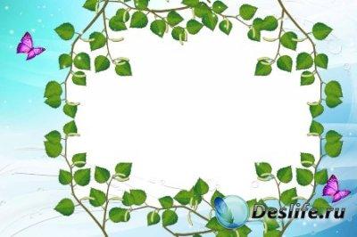 Рамка для фотошопа – В березовых листьях