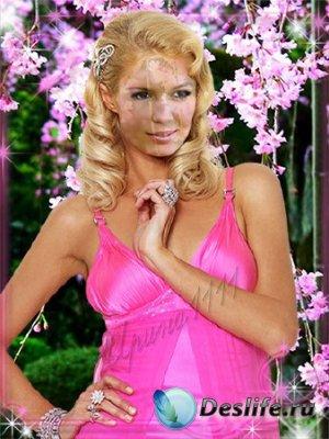 Костюм для фотошопа - Девушка в розовом платье