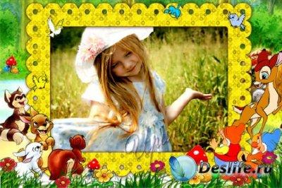 Детская рамка для фотошопа - Летняя полянка