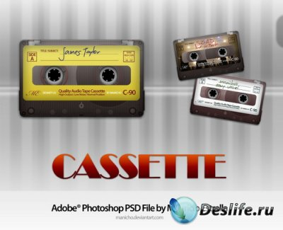 Многослойный PSD исходник для фотошопа – Аудиокассета