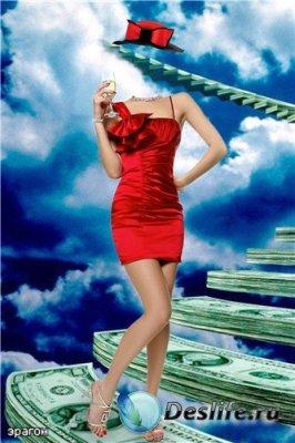 Женский костюм для фотошоп – Девушка в красном