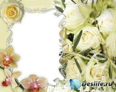 Рамка для фотошопа - Белые Розы и Оpxидея