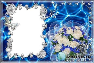 Рамочка для фотошопа - Голубая с букетом роз