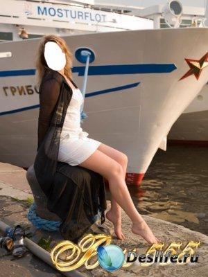 Женский костюм для фотошопа - Возле корабля 2
