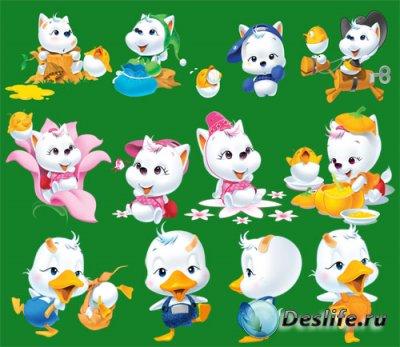 Детский клипарт для фотошопа - Котики, кошечки, утята