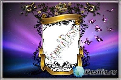 Рамочка для фотошопа - Фиолетовая с бабочками