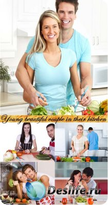 Stock Photo: Young beautiful couple in their kitchen