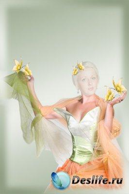 Женский шаблон для фотошопа - С бабочками