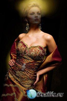 Женский костюм для фотошопа - На чёрном фоне