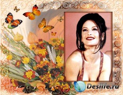 Рамка для фотошопа с цветами и бабочками