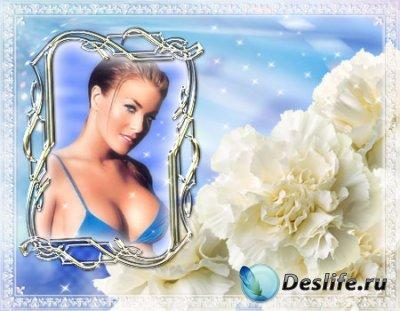 Рамка для фотошопа с белым орнаментом