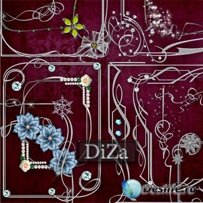 Набор серебряных декоративных рамочек для фотошопа