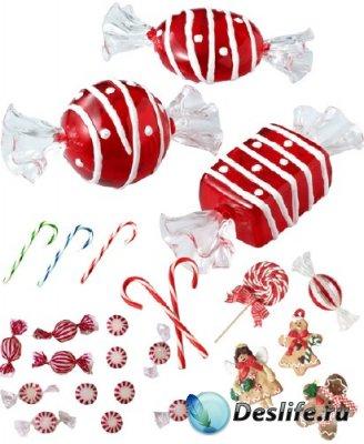 Новогодние сладости - PNG клипарт для фотошопа