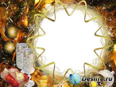 Рамка для фотошопа - Золотой Новый Год