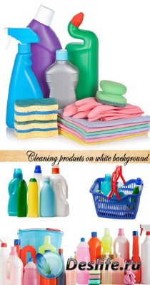 Stock Photo: Cleaning products on white background