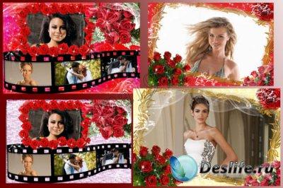 Рамка для фотошопа - Букет из красных роз