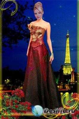 Женский костюм для фотошопа - Ночной Париж