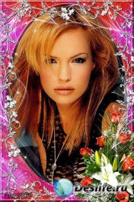 Рамка для фотошопа - Розы и лилии