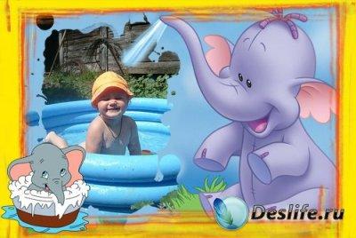 Рамка для фотошопа - Слоненок