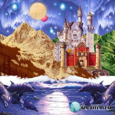 PSD исходник для фотошопа - Горный замок