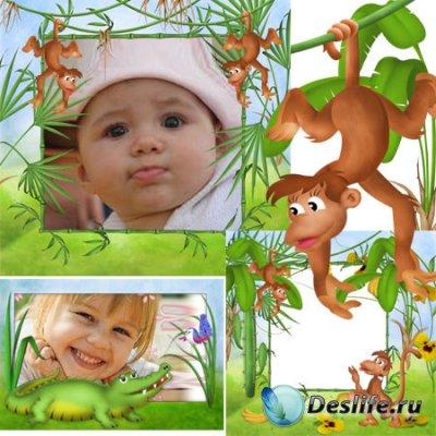 Качественные детские рамочки для фотошопа - Джунгли зовут