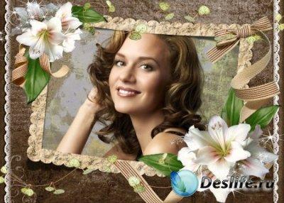 Рамка для фотошопа – Ретро с лилиями