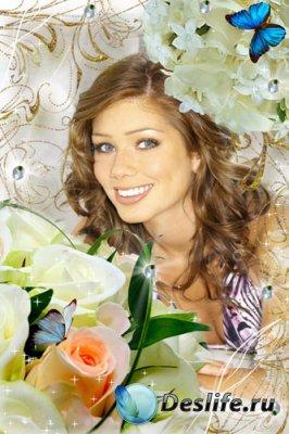 Рамка для фотошопа - Букет из белых роз