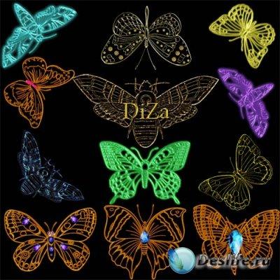 Клипарт для фотошопа - Бабочки в png