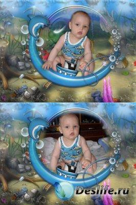 Детская рамка для фотошопа - Морская