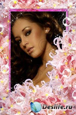Рамка для фотошопа - Розовые лилии