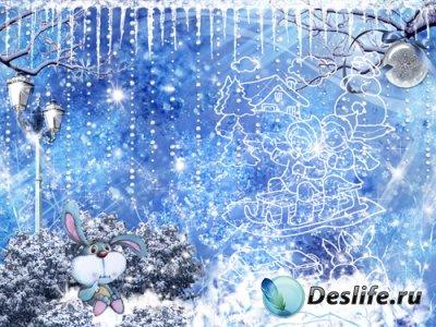 Зимний фон для фотошопа в PSD «Декабрь»