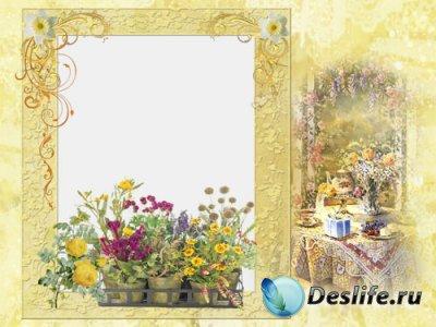 Скраповая рамка для фотошопа - В саду