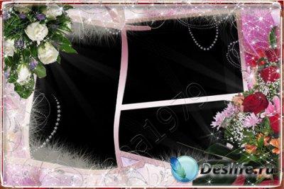 Рамка для фотошопа - Розы и хризантемы