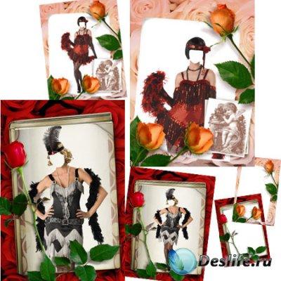 Женские костюмы и рамки для фотошопа - Модное Ретро